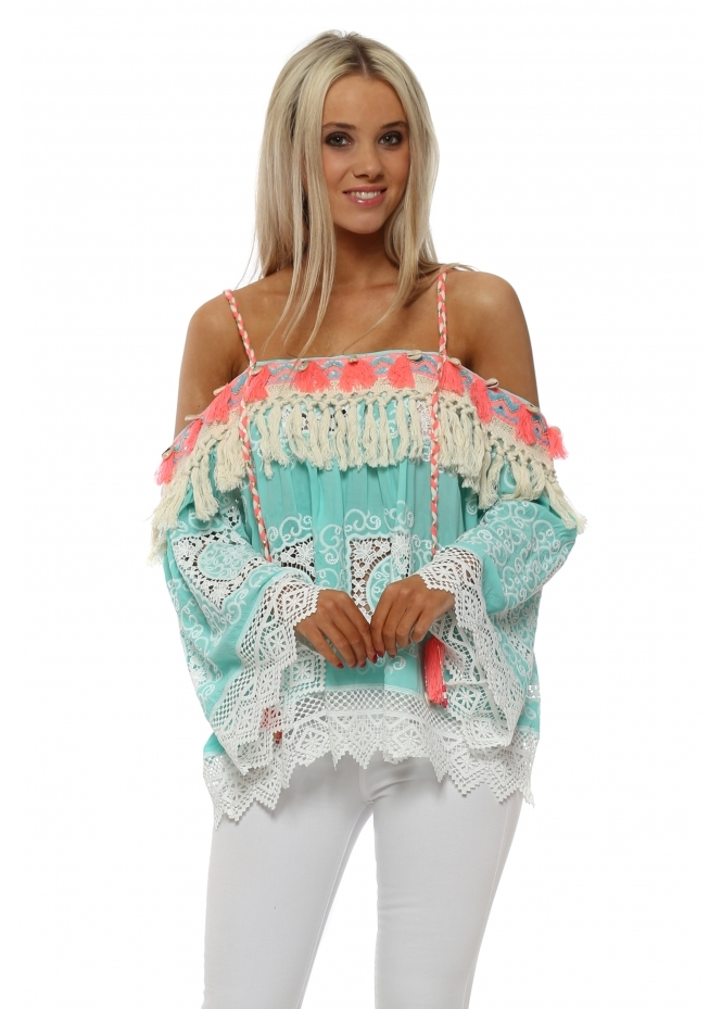 Laurie & Joe Aqua Lace Overlay Tassels & Shells Cold Shoulder Top