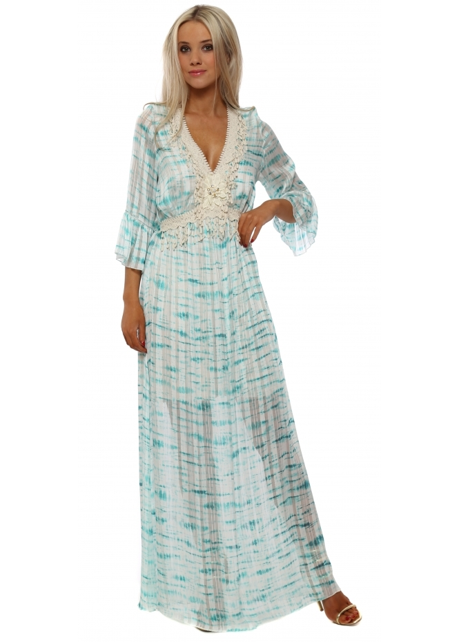 My Story Aqua Tie Dye Chiffon Lace Trim Maxi Dress