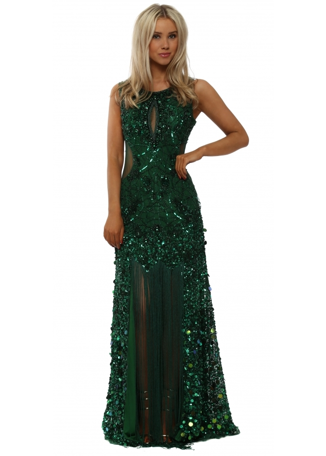 Starry Eyed Fully Sequinned Green Maxi Dress With Fringe Front