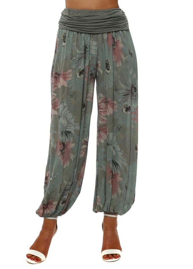 French Boutique Khaki Floral Print Harem Trousers
