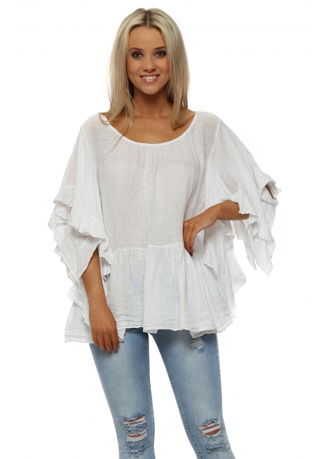 Sugar Babe White Linen Ruffle Sleeve Baggy Top