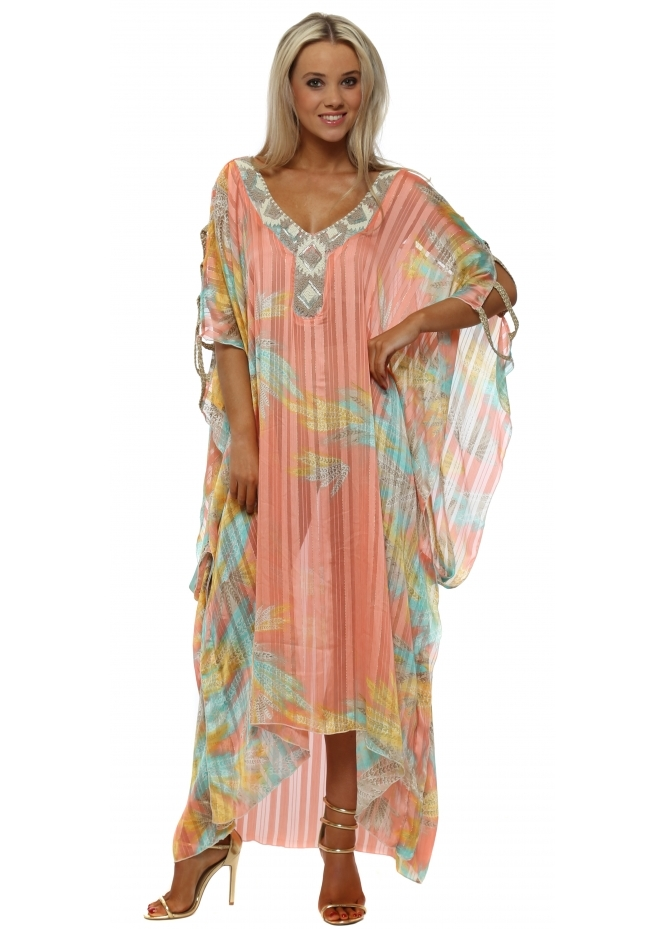 My Story Candy Province Ladder Maxi Kaftan Dress