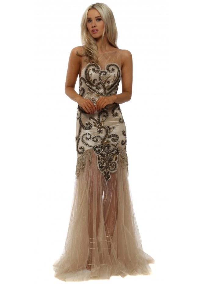 Starry Eyed Embellished Gold Tassel Fishtail Tulle Maxi Dress
