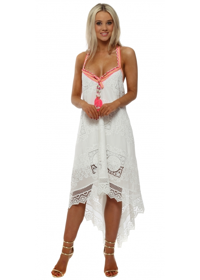 Laurie & Joe White Lace Neon Strap Handkerchief Dress