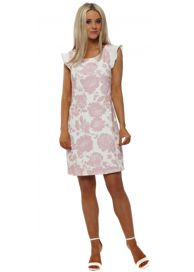 K-Design Pink Flower Print Mini Sleeveless Shift Dress