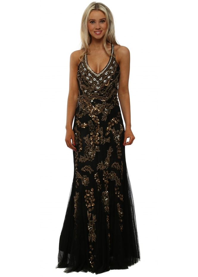 Starry Eyed Gold Sequin Black Mesh Strappy Maxi Dress