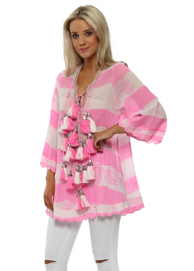 Laurie & Joe Candy Pink Tie Dye Silver Coin Tassle Kaftan Top