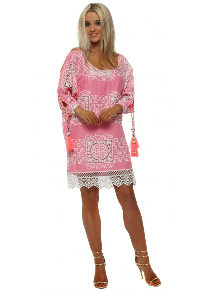 Laurie & Joe Candy Pink Lace Overlay Shift Dress