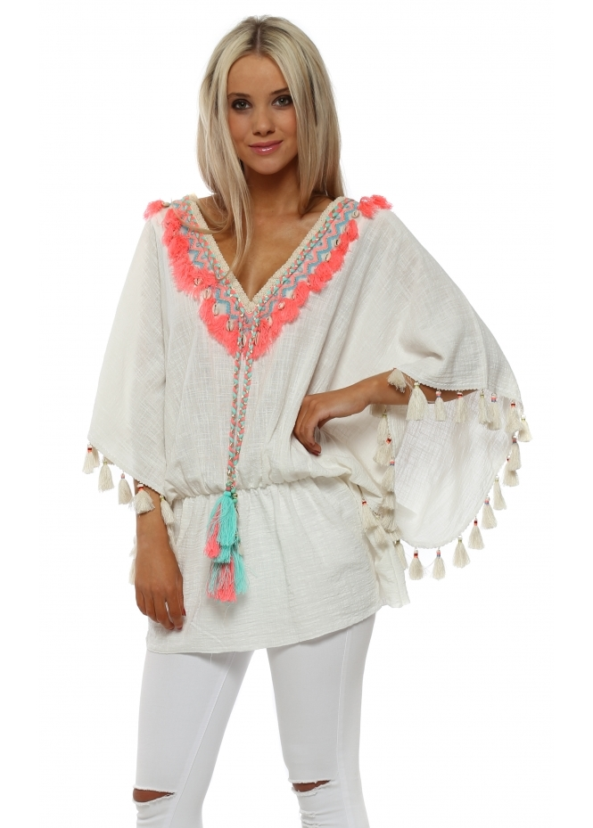 Laurie & Joe White Tassle Kaftan With Shell Detail