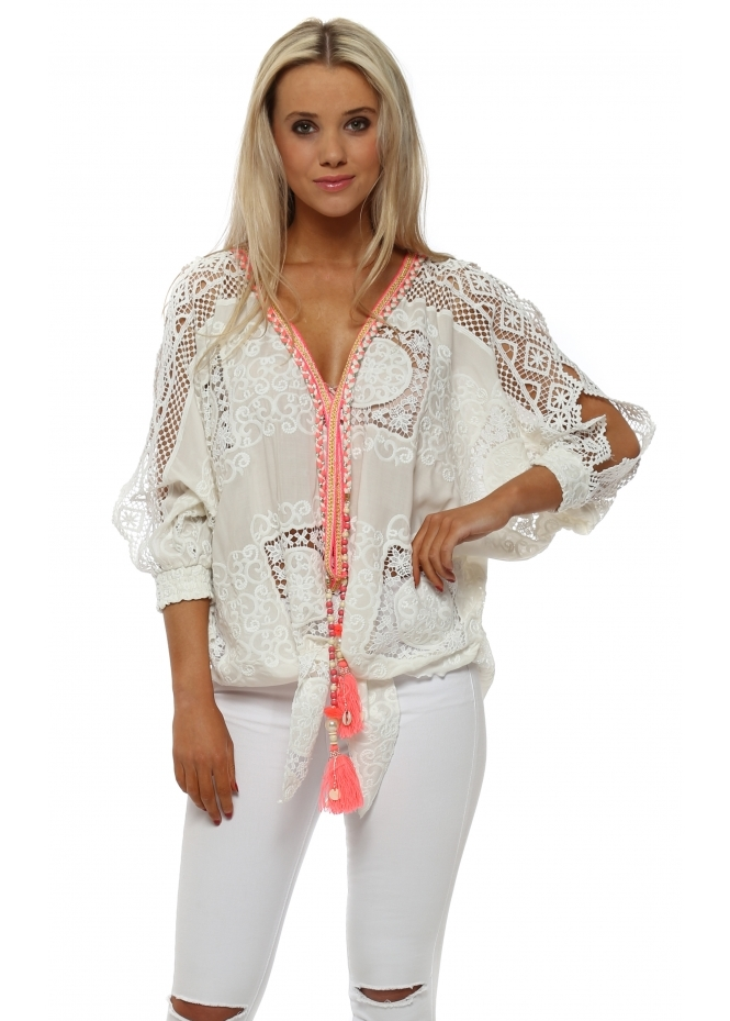 Laurie & Joe White Lace Neon Tassel Cold Shoulder Tie Top