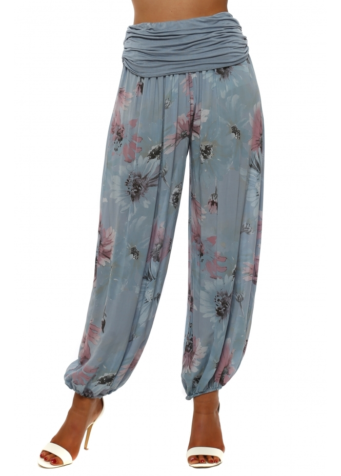French Boutique Blue Floral Print Harem Trousers