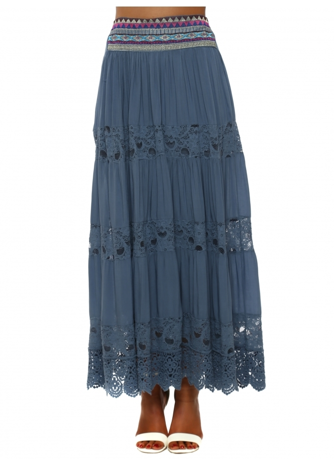 Monton Blue Tiered Lace Embroidered Maxi Skirt