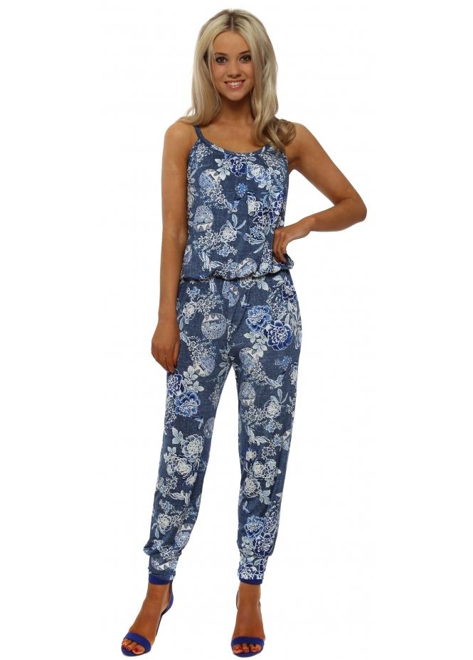 French Boutique Denim Blue & White Floral Print Jumpsuit