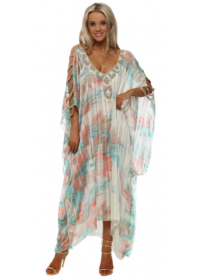 My Story Pastel Province Ladder Maxi Kaftan Dress