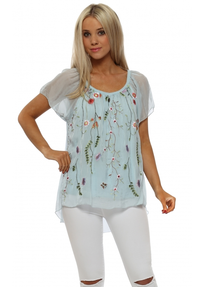 J&L Paris Baby Blue Floral Embroidered Silk Top