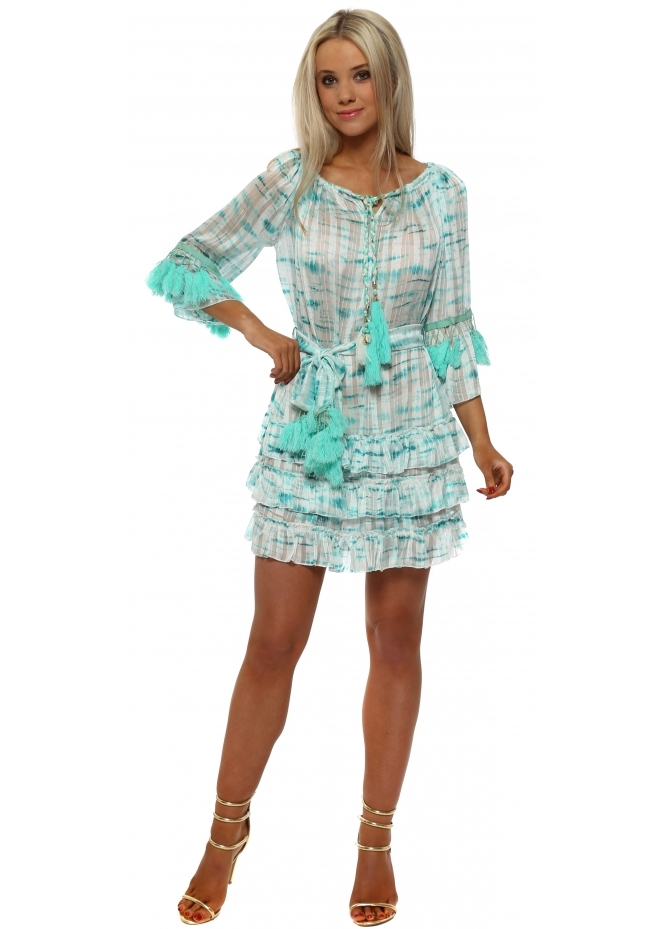 Laurie & Joe Turquoise Tie Dye Chiffon Ruffle Tassel Dress
