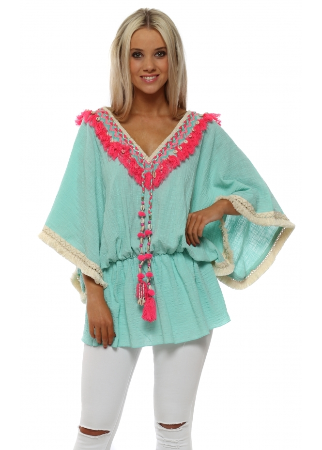 Laurie & Joe Aqua Tassle Kaftan With Shell Detail