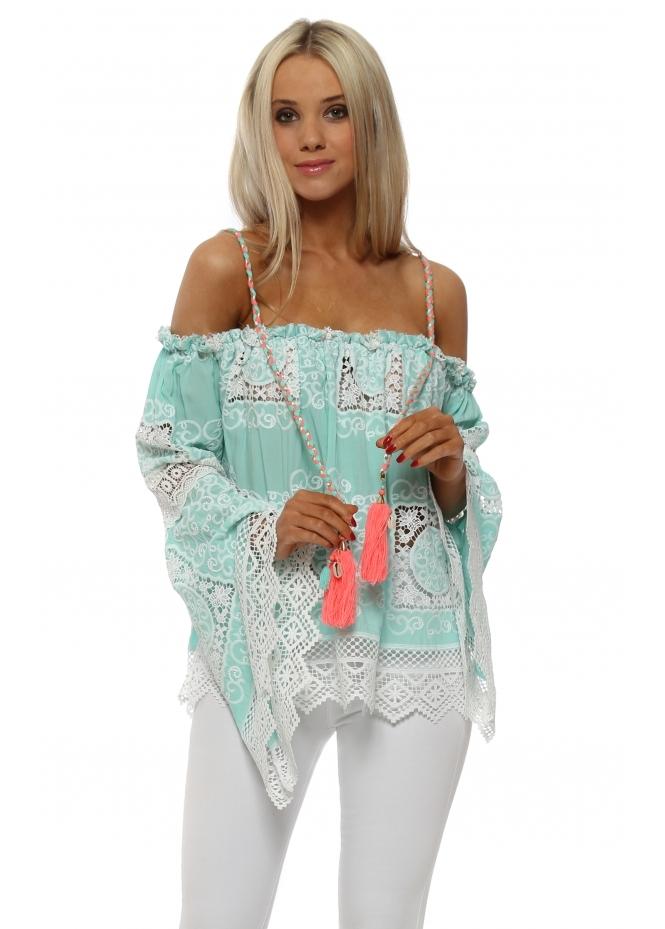 Laurie & Joe Aqua Crochet Overlay Bell Sleeve Shoulder Top