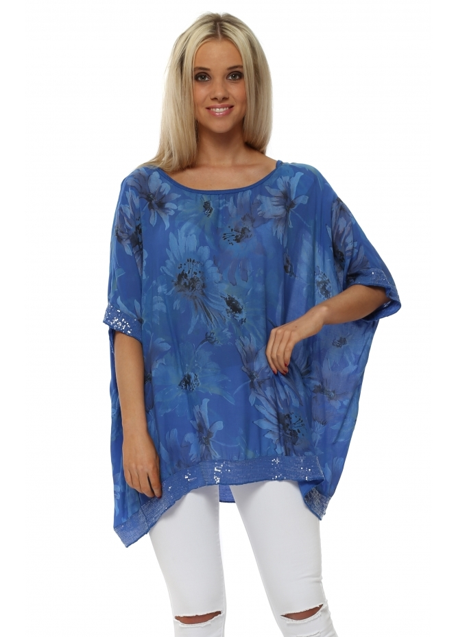 Made In Italy Cobalt Blue Floral Loose Fit Sequinned Top