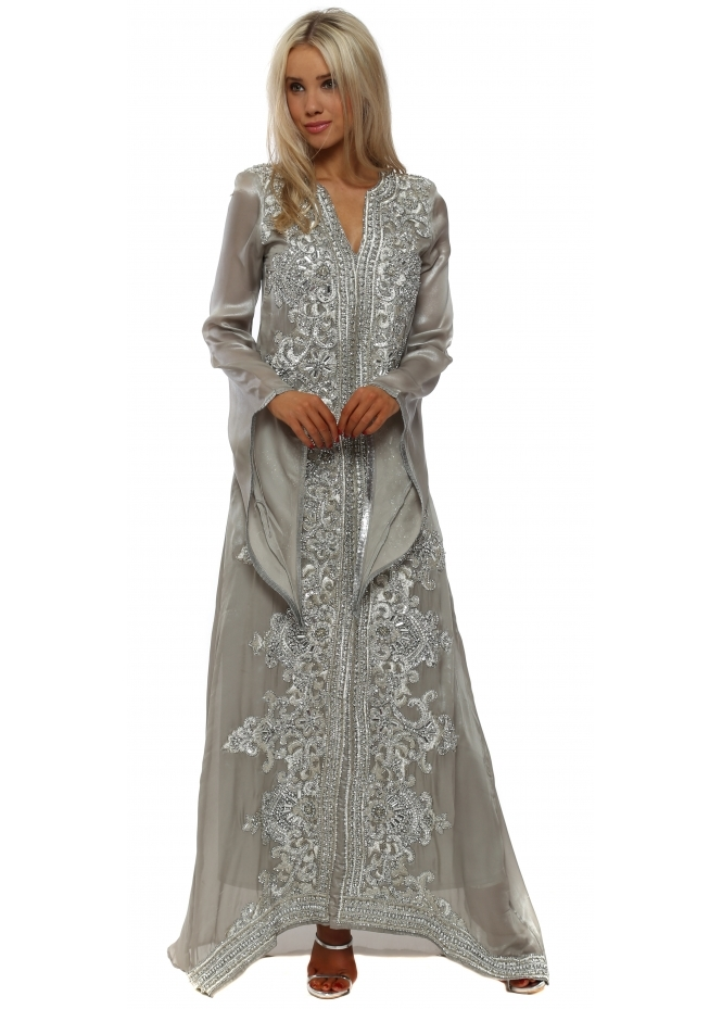 Starry Eyed Silver Sequinned Maxi Kaftan Dress