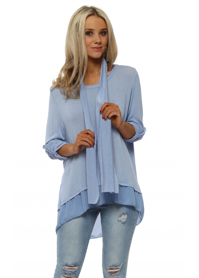 Made In Italy Baby Blue Button Split Back Top With Scarf