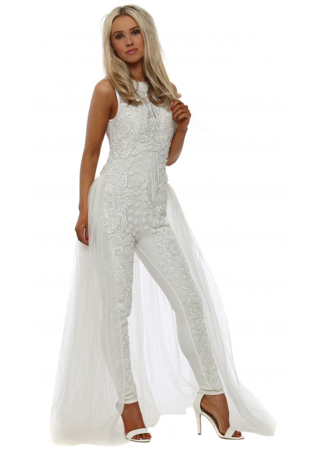 Starry Eyed White Pearl Embellished Jumpsuit With Maxi Skirt