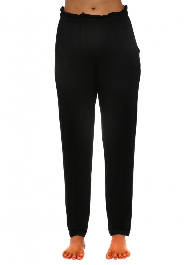 A Postcard From Brighton Frillers Black Loose Fit Relaxed Trousers