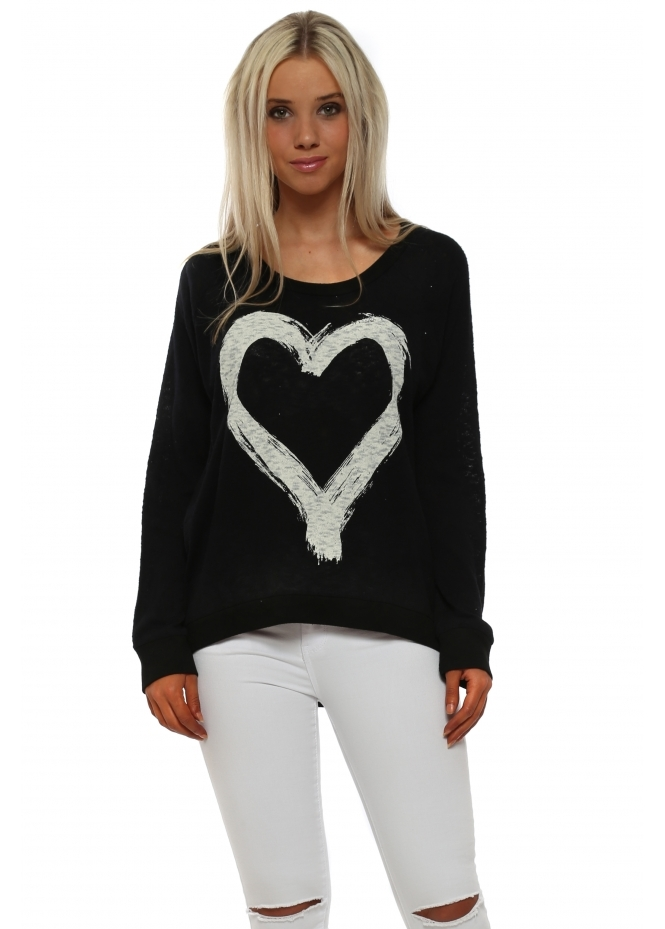 A Postcard From Brighton Renee Black Heart Slub Knit Ribs Jumper