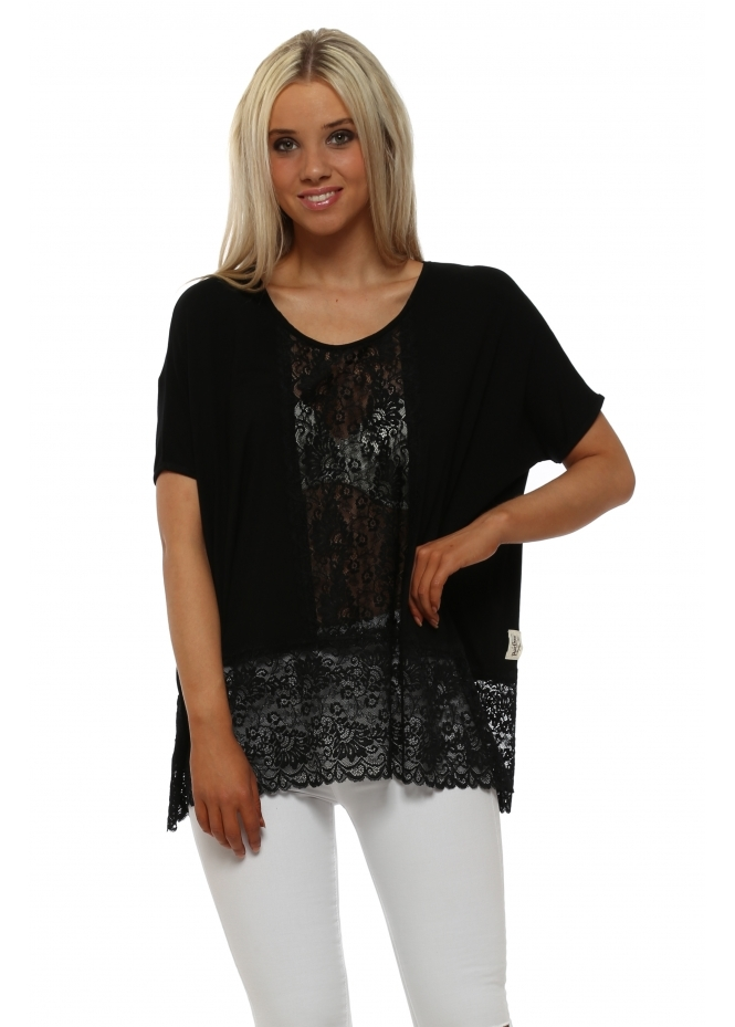 A Postcard From Brighton Sleeveless Binkie Black Lace Insert Slouch Top