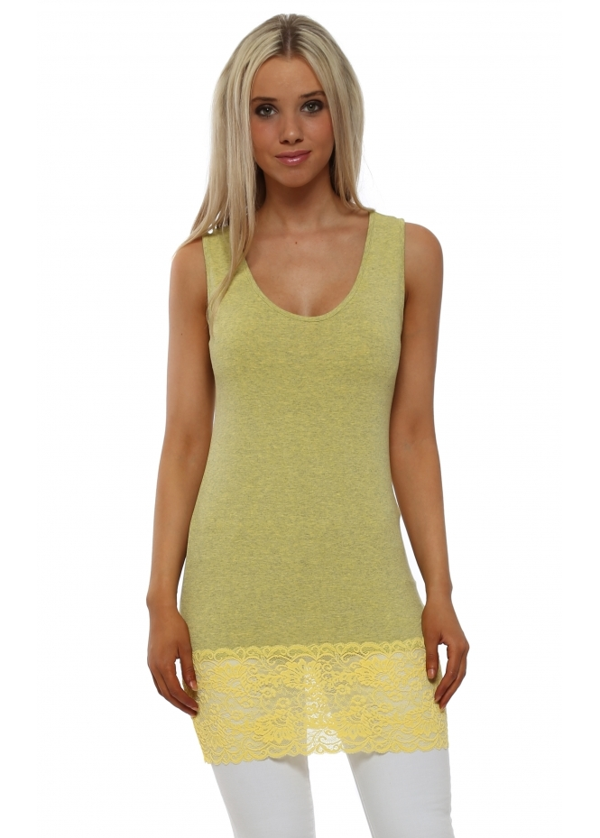 A Postcard From Brighton Sammy Canary Melange Lace Hem Long Vest