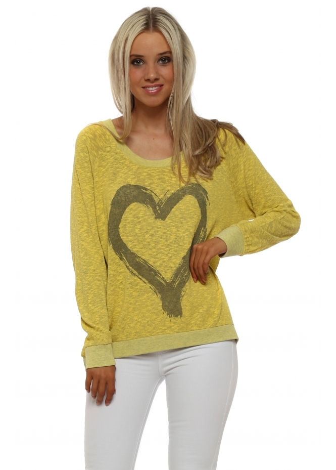 A Postcard From Brighton Renee Canary Melange Heart Slub Knit Ribs Jumper