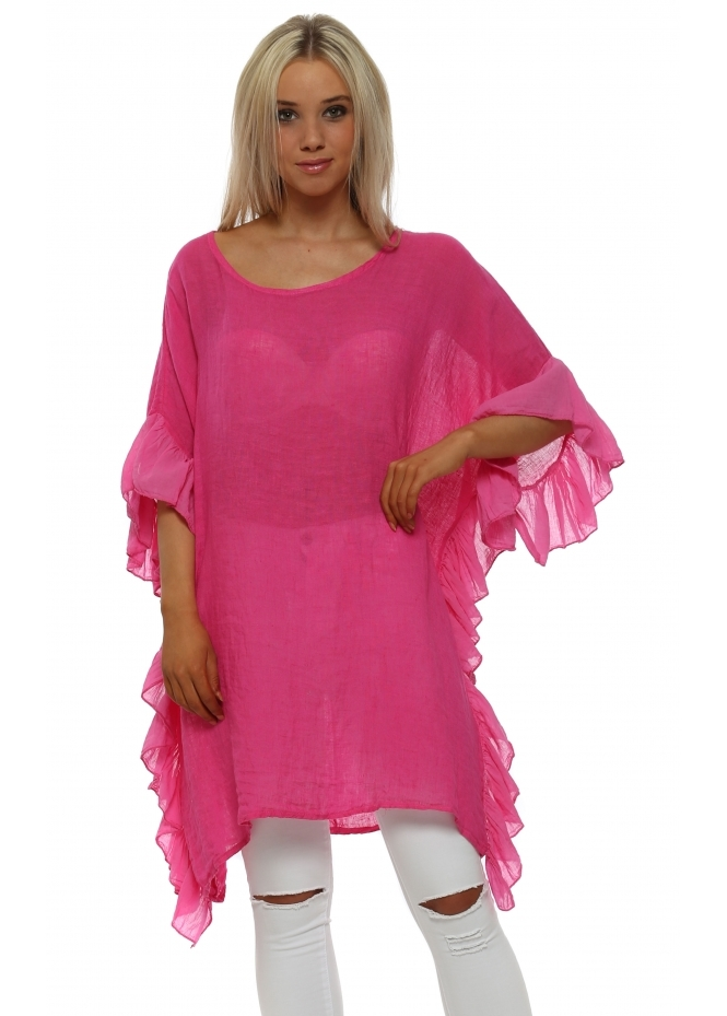 French Boutique Hot Pink Linen Frill Tunic Top