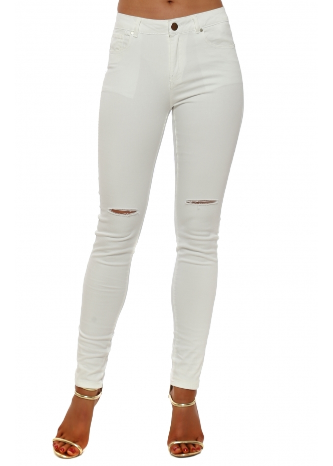 French Boutique White Stretch Fit Ripped Knee Jeans