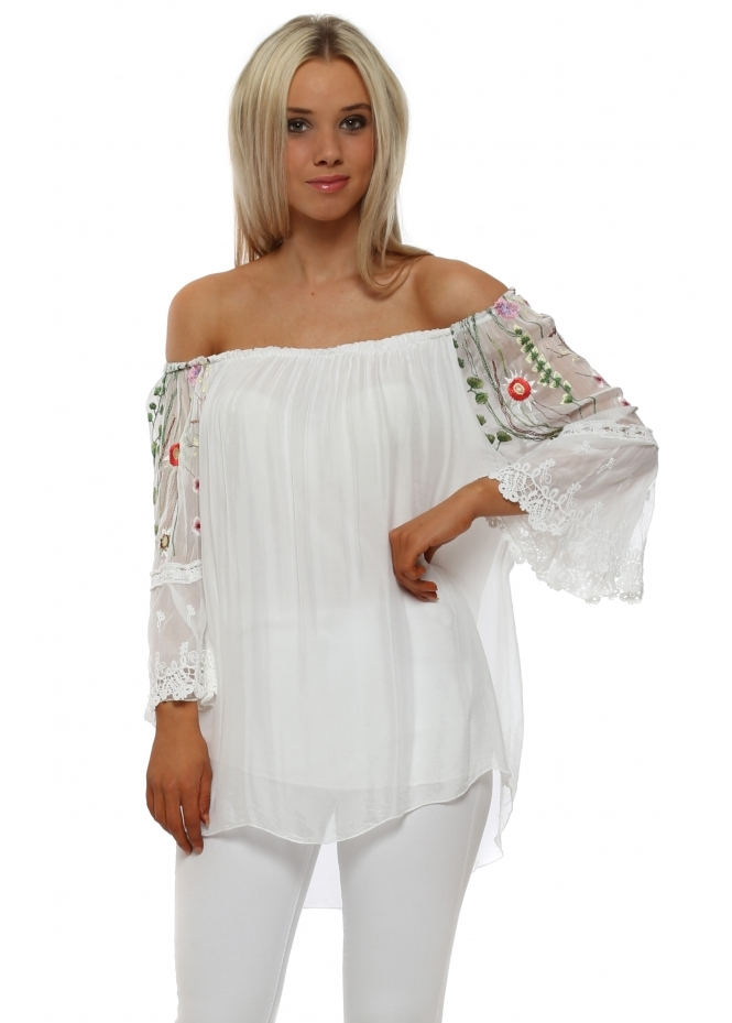 Monton White Floral Embroidered Sleeve Silk Bardot Top