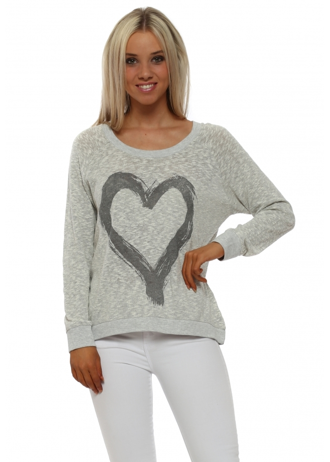 A Postcard From Brighton Renee Vanilla Melange Heart Slub Knit Ribs Jumper