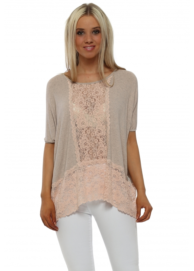 A Postcard From Brighton Sleeveless Binkie Seduction Melange Lace Insert Slouch Top