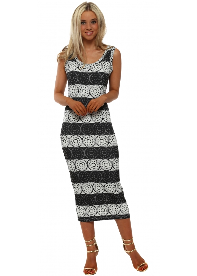 A Postcard From Brighton Lacey Love Lace Pencil Dress In Vanilla