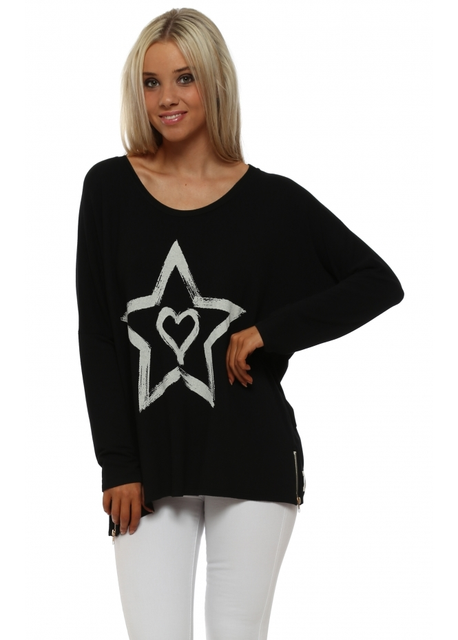 A Postcard From Brighton Zippy Starry Heart Sweater In Black