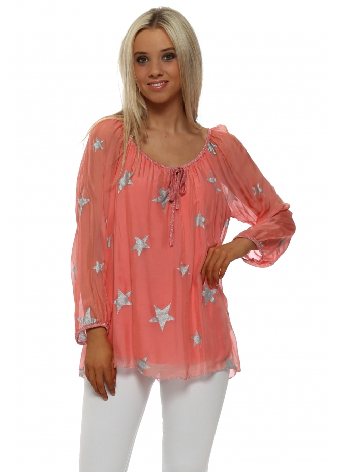Made In Italy Coral Silk Top With Silver Glitter Stars