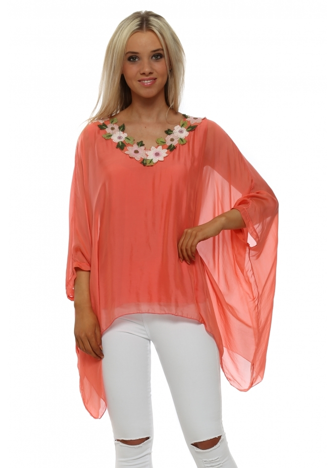 Made In Italy Coral Floral Neckline Silk Batwing Top