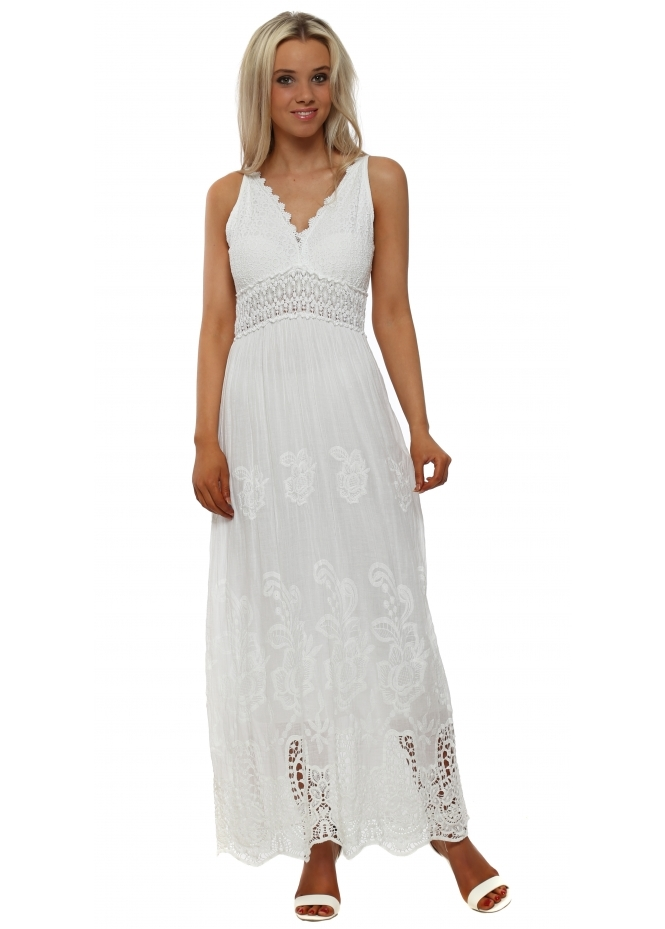 J&L Paris White Embroidered Cotton Maxi Dress