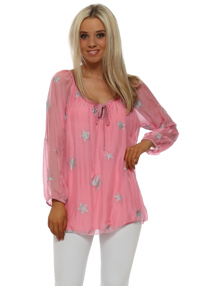Made In Italy Candy Pink Silk Top With Silver Glitter Stars