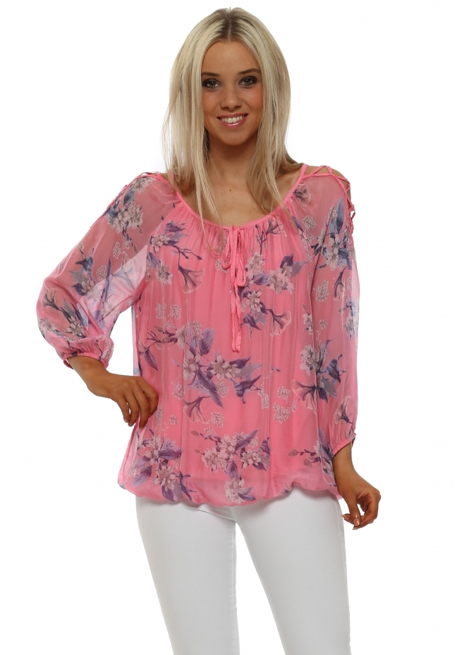 Made In Italy Hot Pink Floral Silk Lattice Sleeve Top