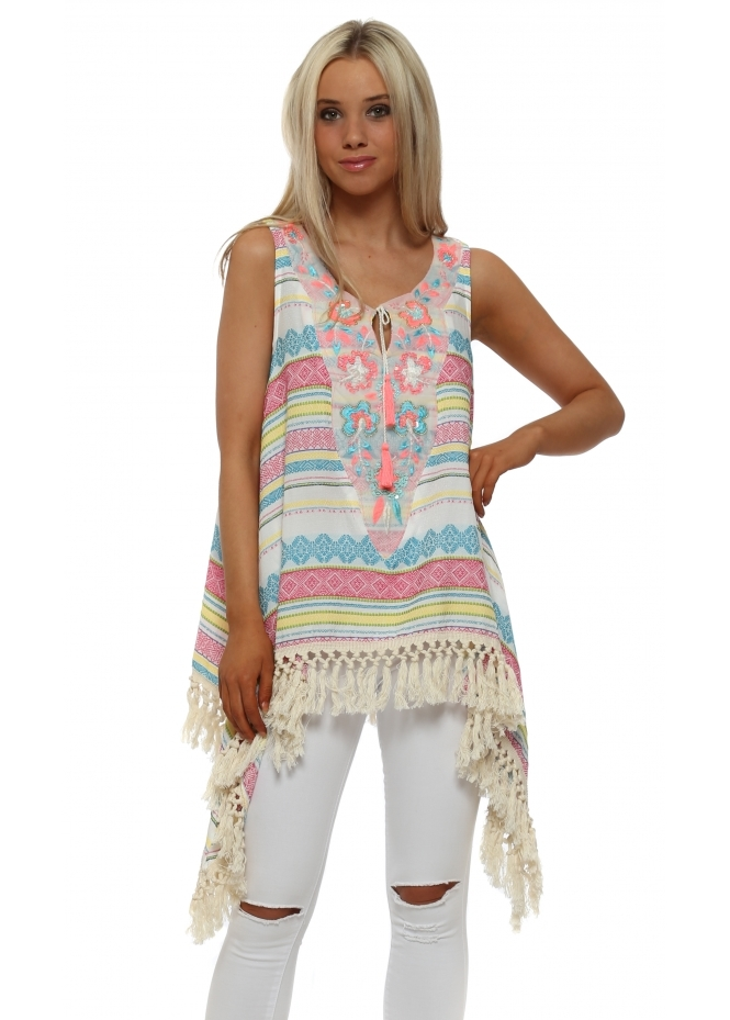 Laurie & Joe Neon Inca Sequinned Dip Side Tunic Top