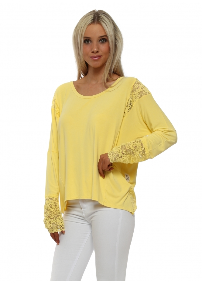 A Postcard From Brighton Eve Canary Lace Insert Karma Top