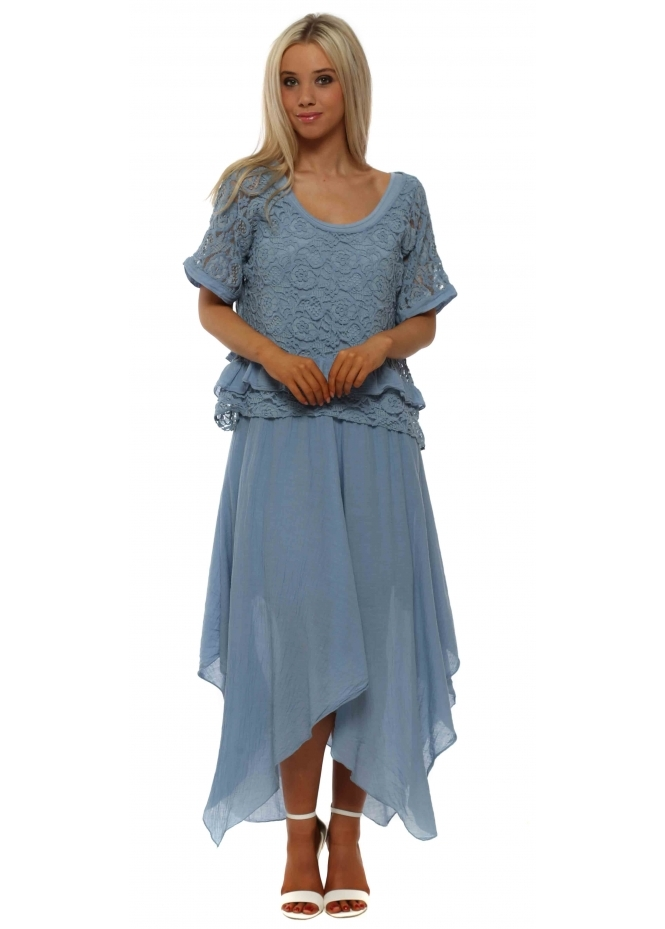 French Boutique Denim Blue Lace Top Handkerchief Maxi Dress