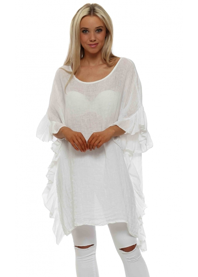 French Boutique White Linen Frill Tunic Top
