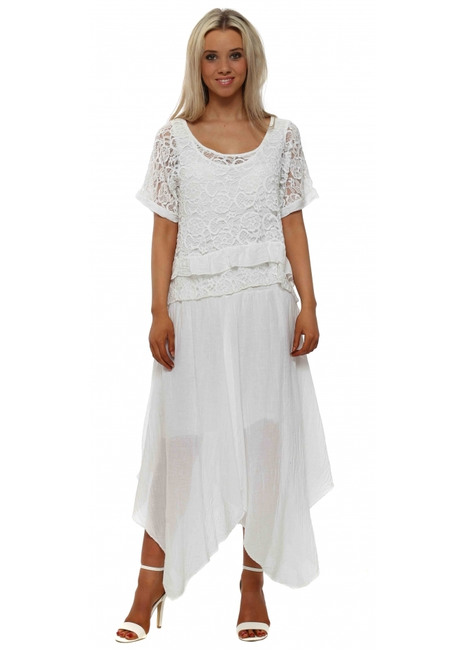 French Boutique White Lace Top Handkerchief Maxi Dress