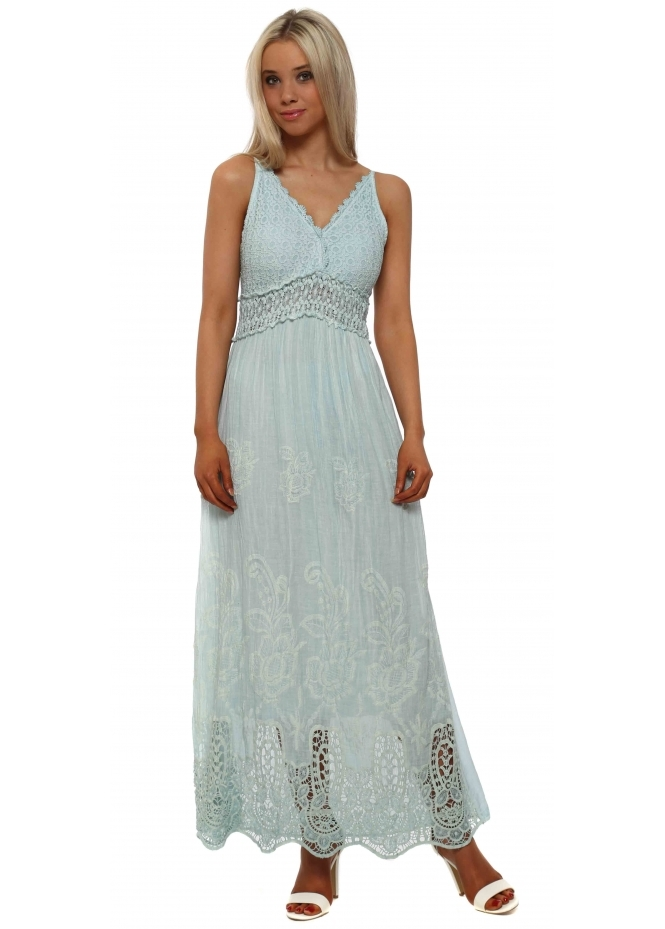 Made In Italy Blue Embroidered Cotton Maxi Dress