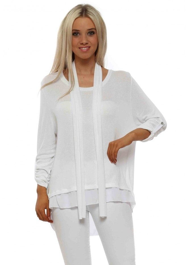 Italian Boutique White Button Split Back Top With Scarf